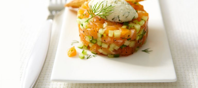 Melon and Mascarpone Salmon Tartare